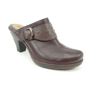 Sofft Carris Brown Leather Heeled Open Back Clogs